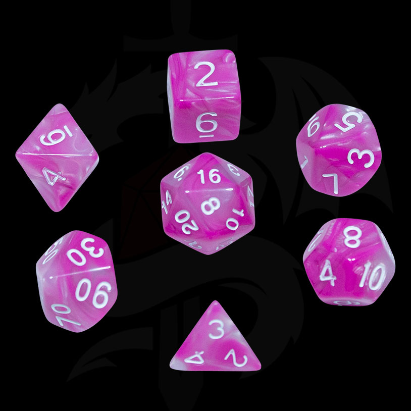 Pink and White Fusion DND Dice