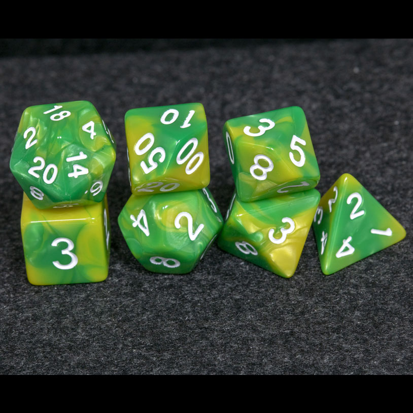 Green and Yellow Fusion DND Dice