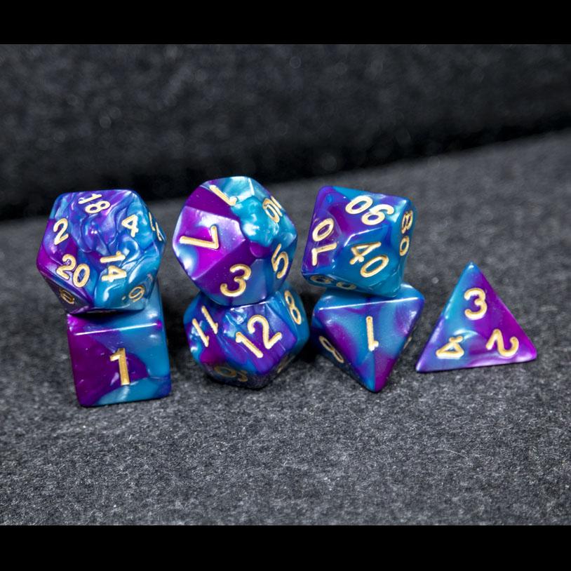 Blue and Pruple Fusion DND Dice
