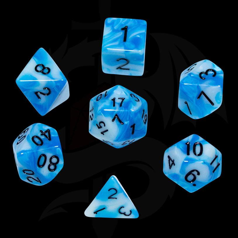 Blue and White Fusion DND Dice