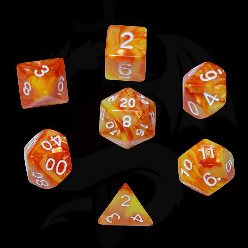 Orange and Yellow Fusion DND Dice
