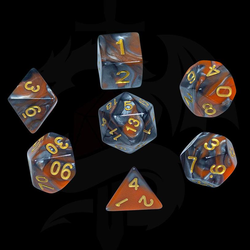 Silver and Orange Fusion DND Dice
