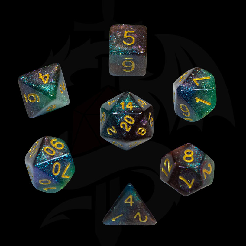 Black, Green and Blue Galaxy DND Dice
