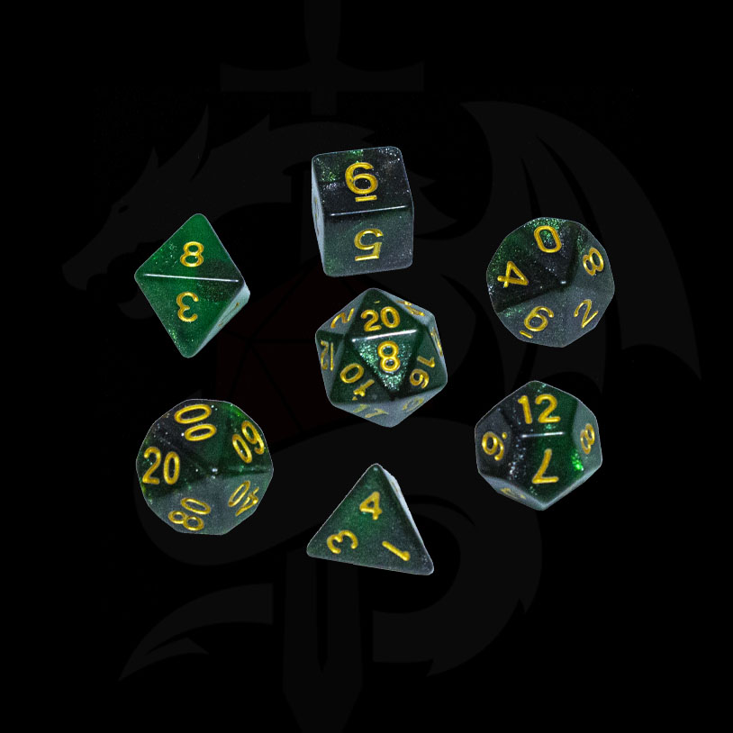 Green and Black Galaxy DND Dice