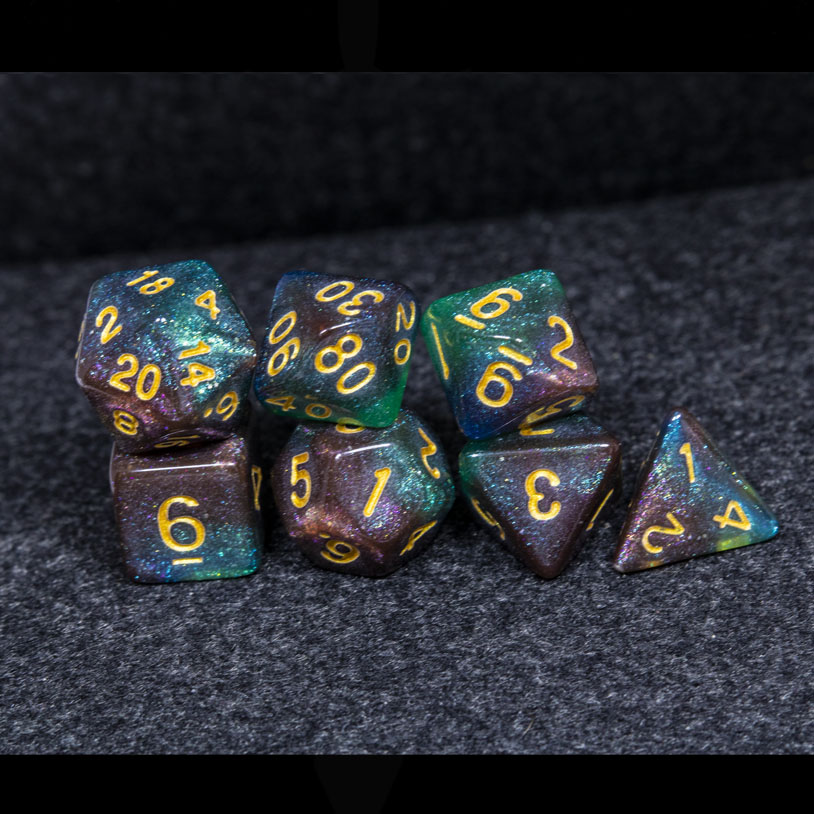 Brown Green and Blue Galaxy DND Dice