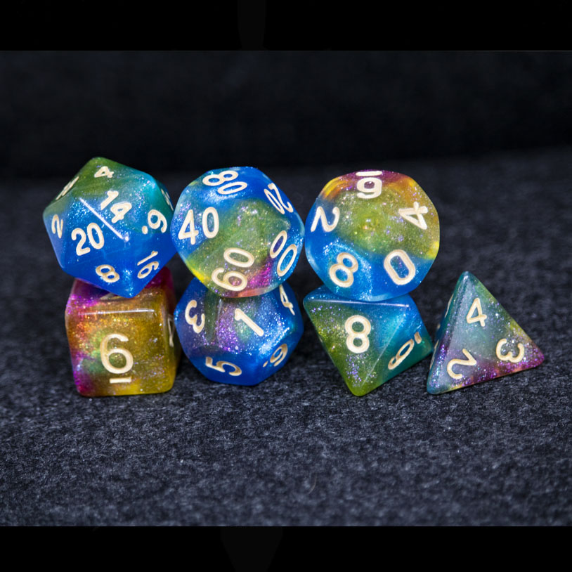 Green, Blue, Yellow and Purple Galaxy DND Dice