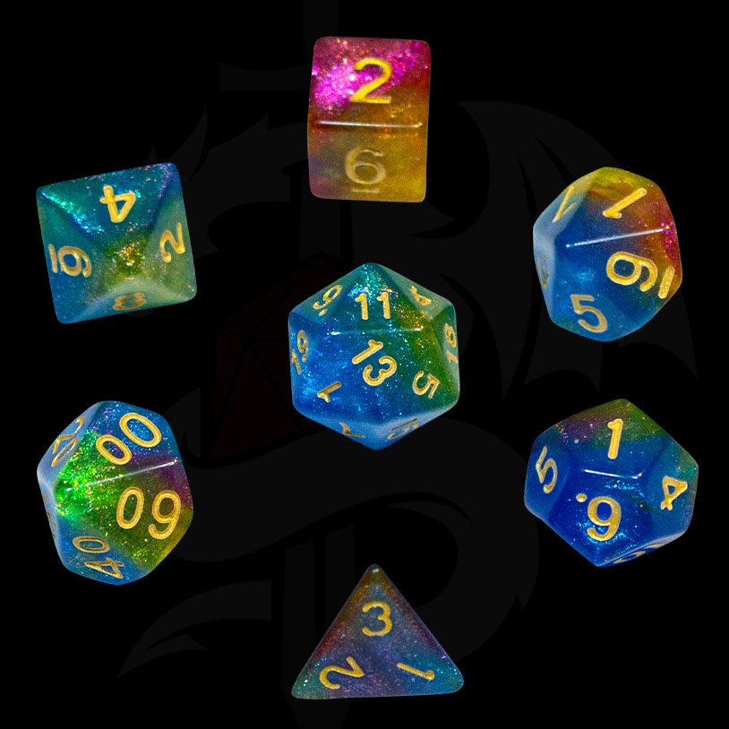 Green, Blue, Yellow and Red Galaxy DND Dice