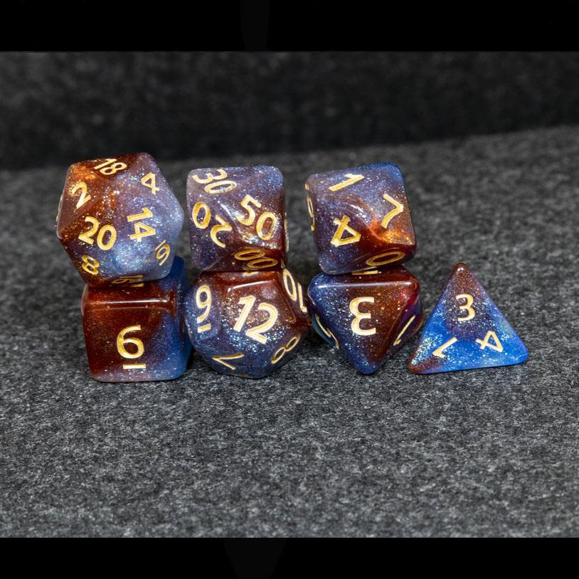 Blue and Orange Galaxy DND Dice