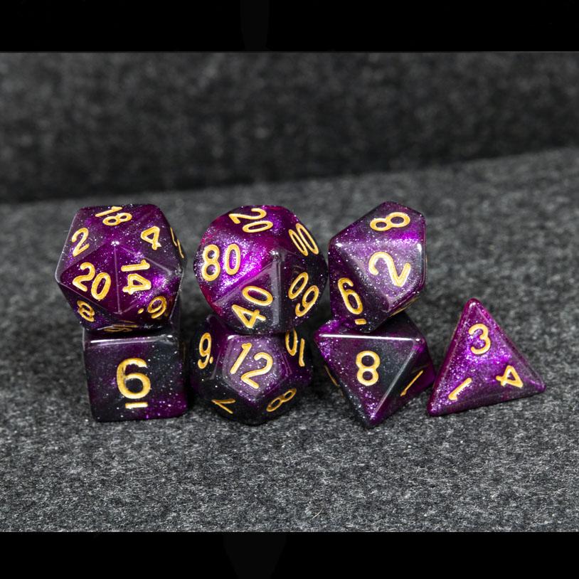 Purple and Black Galaxy DND Dice
