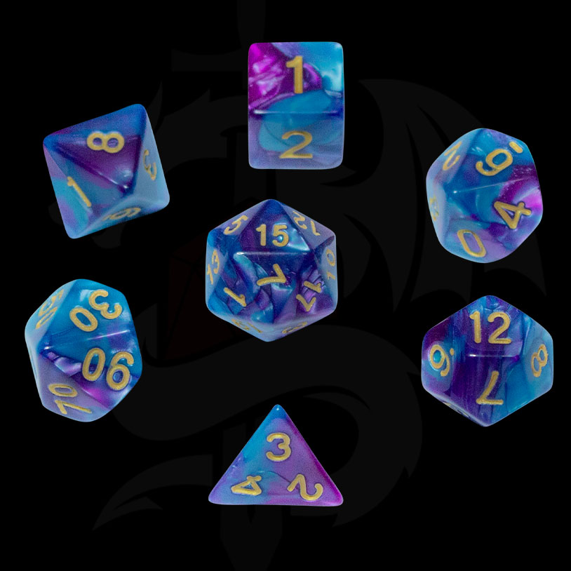 Teal and Purple Fusion DND Dice