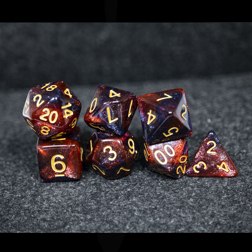 Red and Black Galaxy DND Dice